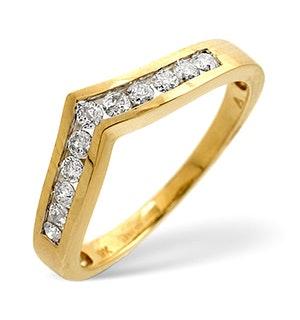 Diamond 0.27ct 9K Yellow Gold Wishbone Ring