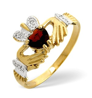 Garnet And Diamond Claddagh 9K Yellow Gold Ring