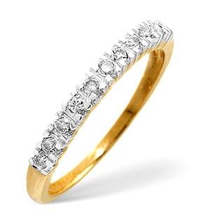 Half Eternity Ring Diamond 9K Yellow Gold 0.15CT