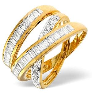 Designer Crossover Diamond Ring 0.85ct Set in 18K Gold
