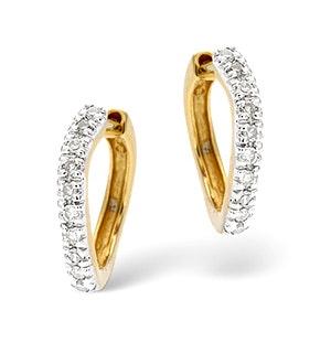 Hoop Earrings 0.11ct Diamond 9K Gold