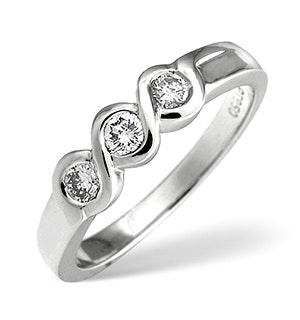 3 Stone Ring 0.28CT Diamond Platinum
