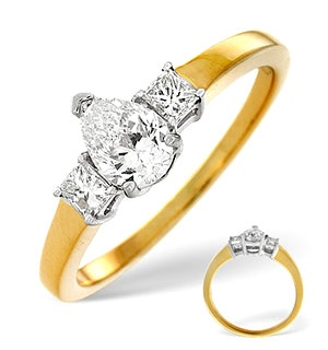 H/Si Solitaire With Shoulders Ring 0.70CT Diamond 18K Yellow Gold