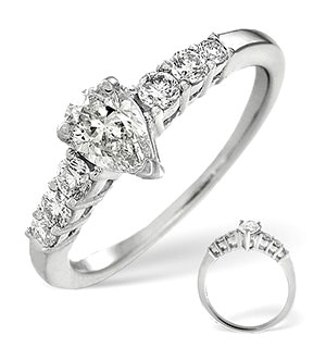 H/Si Solitaire With Shoulders Ring 0.80CT Diamond 18K White Gold
