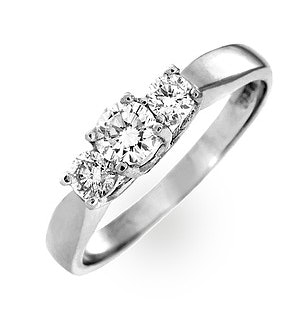Ariella 18K White Gold 3 Stone Diamond Ring 0.50CT H/SI