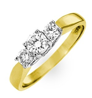 Ariella 18K Gold 3 Stone Diamond Ring 0.50CT H/SI