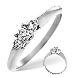 Certified 1.06CT 18K White Gold Diamond Claw Set Trilogy Ring