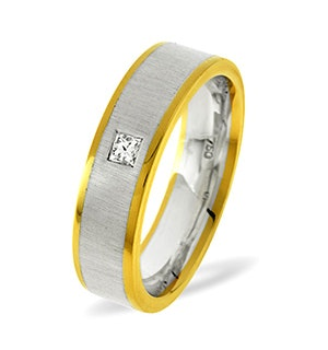 Leah  0.07CT H/SI Diamond and 18K Two Tone Wedding Ring