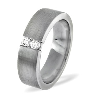 Mens 0.12ct G/Vs Diamond 18K White Gold Dress Ring