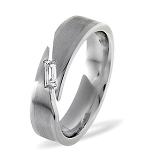 Mens 0.07ct H/Si Diamond 18K White Gold Dress Ring