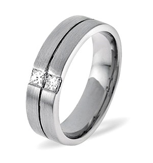 Mens 0.16ct G/Vs Diamond 18K White Gold Dress Ring