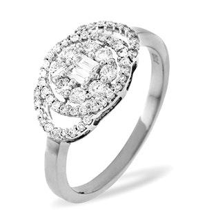 18K White Gold Diamond Ring 0.58ct H/si