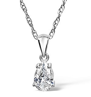 Keira 18K White Gold Pear Shape Diamond Pendant 0.25CT H/SI