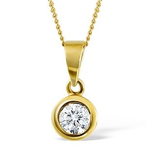 Certified Diamond 0.90CT Emily 18K Gold Pendant Necklace G/SI1