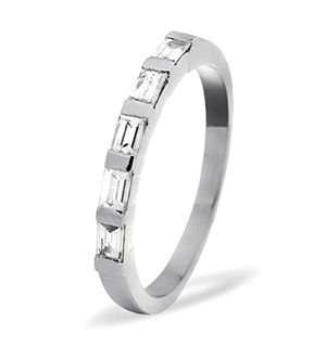EMERALD CUT 18K White Gold Diamond ETERNITY RING 0.50CT H/SI
