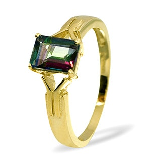 Mystic Topaz 1.20CT 9K Yellow Gold Ring
