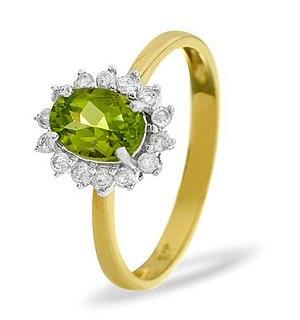Peridot 7 x 5mm And Diamond 9K Yellow Gold Ring