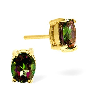 Mystic Topaz 0.80CT 9K Yellow Gold Earrings
