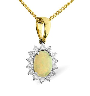 Opal 7 x 5mm And Diamond 9K Gold Pendant Necklace