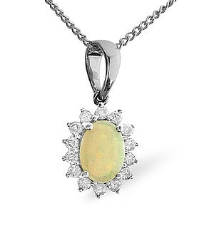 Opal 7 x 5mm And Diamond 9K White Gold Pendant Necklace