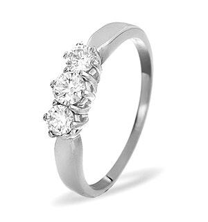 Trilogy Ring 0.50CT Diamond 9K White Gold