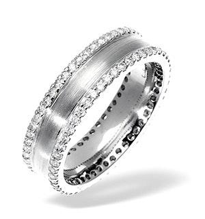 Mens 0.7ct H/Si Diamond 18K White Gold Dress Ring
