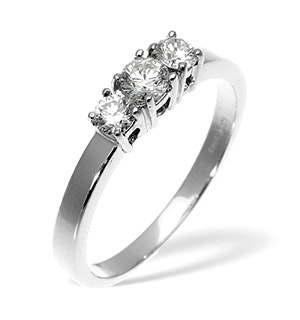 Ellie 18K White Gold 3 Stone Diamond Ring 0.50CT H/SI