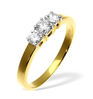 Ellie 18K Gold 3 Stone Diamond Ring 0.50CT G/VS