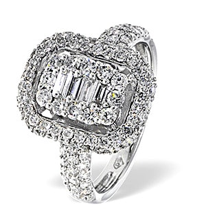 Baguette and Brilliant Cut Diamond Halo Galileo Ring in 18K White Gold