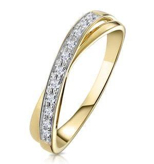 Diamond 0.08CT 9K Yellow Gold Cross-Over Ring
