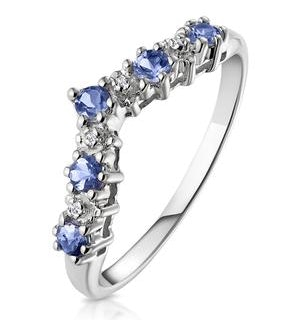 Diamond and Tanzanite 0.35CT Wishbone Ring in 9K White Gold