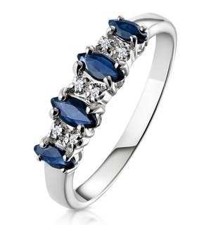 Sapphire 0.76ct And Diamond 9K White Gold Ring