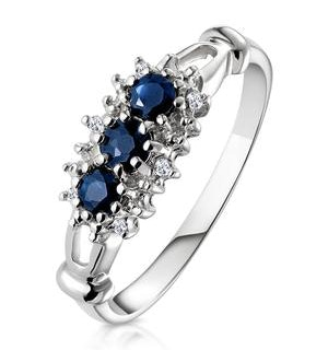 Sapphire 0.34ct And Diamond 9K White Gold Ring