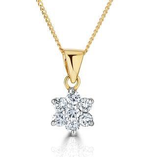 18K Gold Diamond Cluster Pendant Necklace 0.25CT H/SI