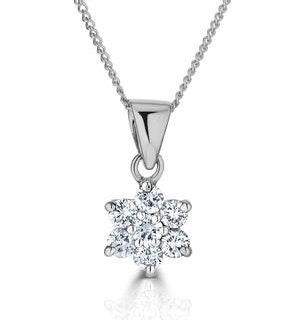 18K White Gold Diamond Cluster Pendant Necklace 0.25CT H/SI
