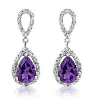 Amethyst 2.47CT And Diamond 9K White Gold Earrings