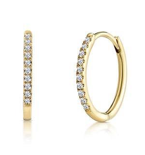 Stellato Diamond Encrusted Hoop Earrings 0.09ct in 9K Gold