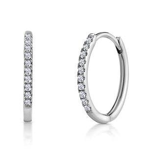 Stellato Diamond Encrusted Hoop Earrings 0.09ct in 9K White Gold