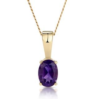 Amethyst 7 x 5mm 9K Yellow Gold Pendant Necklace