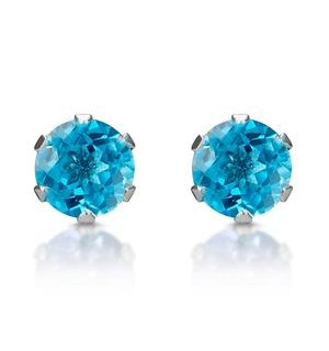 Blue Topaz 4mm 9K White Gold Stud Earrings