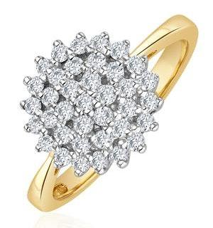 9K Gold Diamond Cluster Ring 0.50ct - E5607