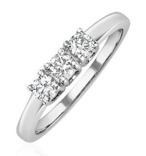 Chloe 18K White Gold 3 Stone Diamond Ring 0.30CT