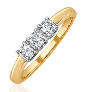 Chloe 18K Gold 3 Stone Diamond Ring 0.30CT