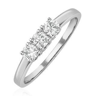 Chloe 18K White Gold 3 Stone Diamond Ring 0.50CT