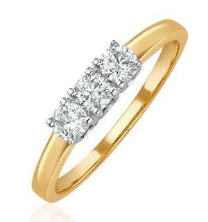 Chloe 18K Gold 3 Stone Diamond Ring 0.50CT