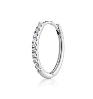 SINGLE Stellato Diamond Hoop Earring 0.09ct in 9K White Gold