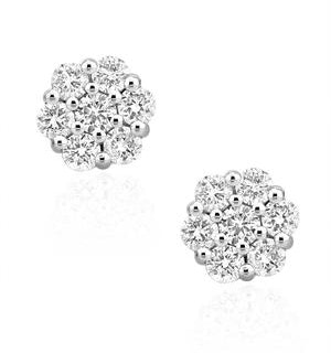 Lab Diamond Cluster Earrings 0.50ct H/SI Quality set in 9K White Gold