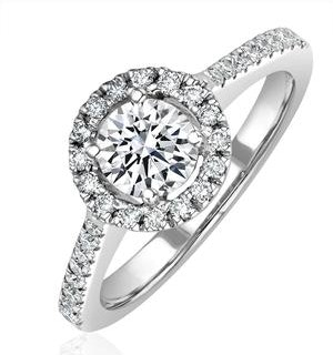 Ella Halo Diamond Engagement Ring 0.86ct H/SI2 Quality 18K White Gold