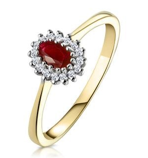 Ruby 5 x 3mm And Diamond 9K Gold Ring