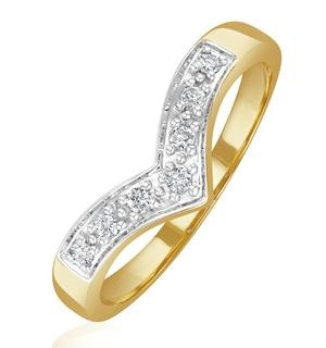 Diamond 0.11ct 9K Yellow Gold Wishbone Ring